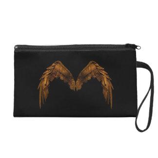 Gold Angel Wings Satin Clutch Bag Wristlet