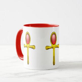 GOLD ANKH ,RED TALISMAN EGYPTIAN JEWEL White Mug