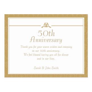 Gold Anniversary Thank You Postcard