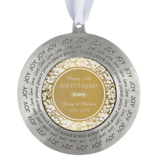 Gold Anniversary- White Damask Pattern Round Pewter Ornament
