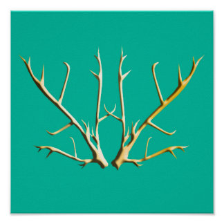 Gold Antlers on Teal Poster