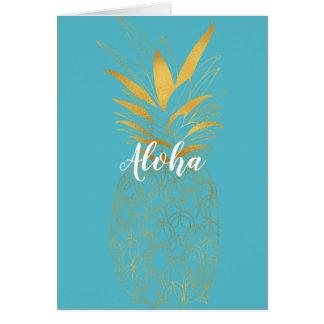 Gold Aqua Aloha Pinapple Card
