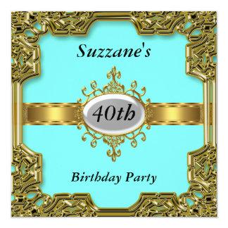 Gold Aqua Birthday Party Glamour Hot Invitation