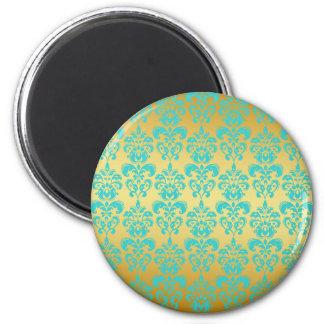 Gold, Aqua Blue Damask Pattern 2 Refrigerator Magnets