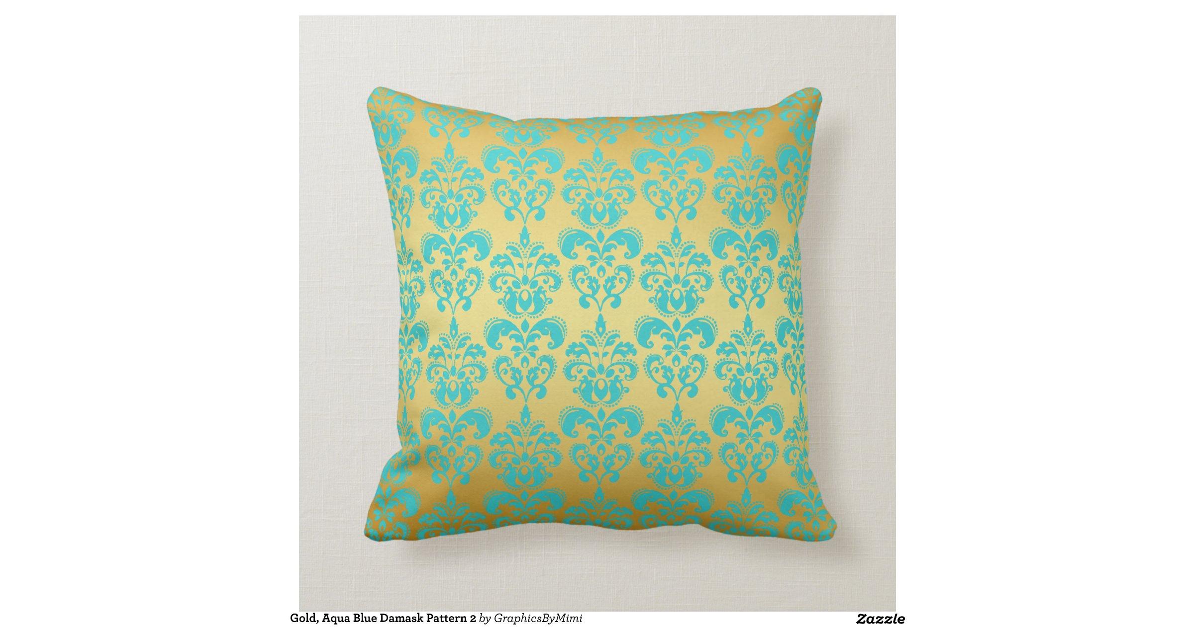 Throw Pillows Aqua Blue : Gold, Aqua Blue Damask Pattern 2 Throw Pillows Zazzle
