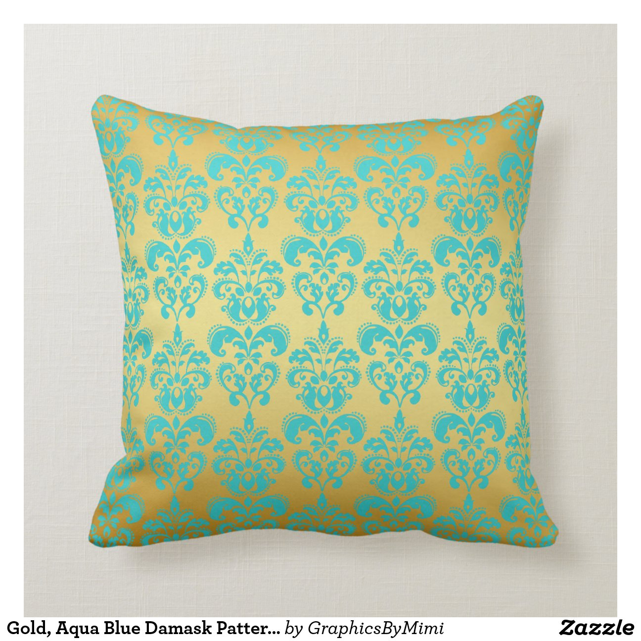 Throw Pillows Aqua Blue : Gold, Aqua Blue Damask Pattern 2 Throw Pillows Zazzle