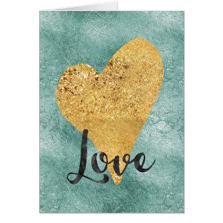 Gold Aqua Mint Heart Love Card