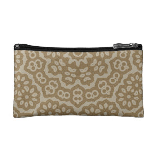 Gold arabian lace flower pattern makeup bag