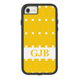 Gold Argyle Lattice with monogram Case-Mate Tough Extreme iPhone 8/7 Case