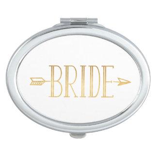 Gold Arrow Bride Compact Mirror