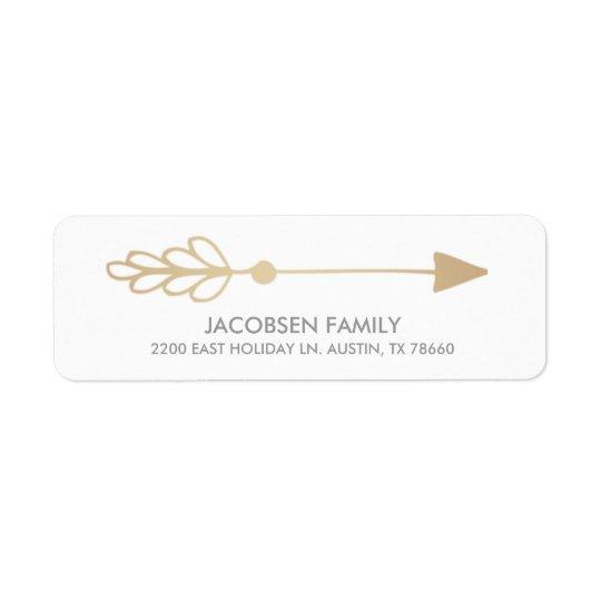 Gold Arrow Christmas Card Return Address Labels