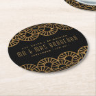 Gold Art Deco Fan Wedding and Celebration Coasters