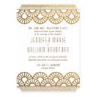 Gold Art Deco Fan Wedding Invitation in White