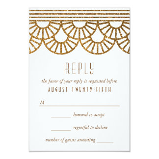 Gold Art Deco Fan Wedding Invitation Reply Card