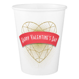 Gold Art Deco Heart Valentine's Day Paper Cup