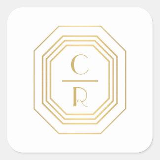 Gold Art Deco Monogram Initials Square Sticker