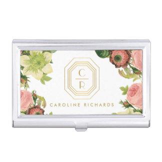 Gold Art Deco Monogram with Vintage Florals Business Card Holder