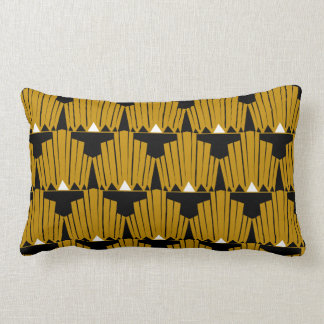 Gold Art Deco Pattern Lumbar Pillow