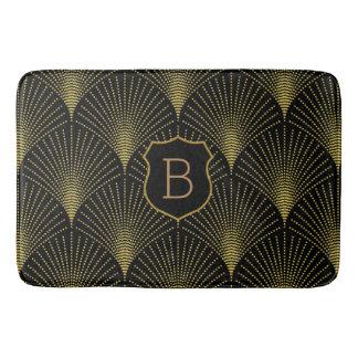 Gold Art-deco Pattern With Monogram Bath Mat