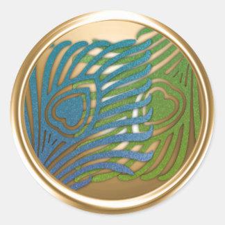 Gold Art Deco Peacock Envelope Seal Set 1104
