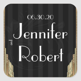 Gold Art Deco Stripe Wedding Envelope Seal Square Sticker