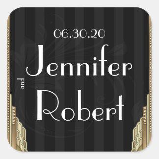 Gold Art Deco Stripe Wedding Envelope Seal Square Sticker