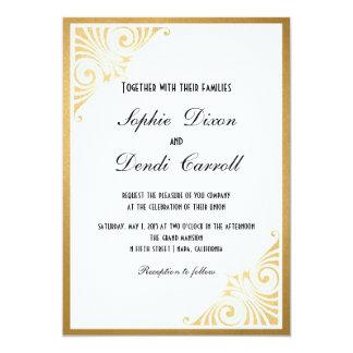 Gold Art Deco Wedding Announcement Invitation