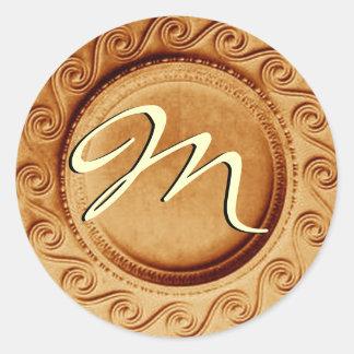 Gold Art Deco Wedding Monogram M Sticker