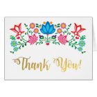 Gold Art Mexican Fiesta thank you note cards