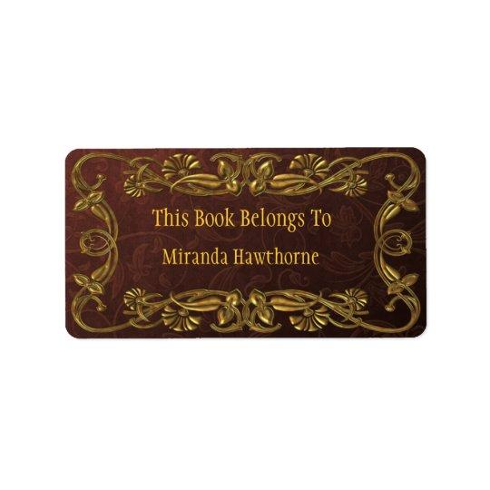 Gold Art Noveau Bookplate Label