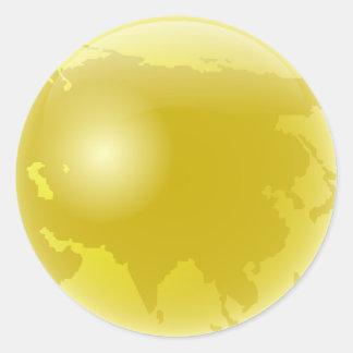 Gold Asia Globe Round Sticker