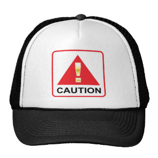 Gold Attention mark on red sign Caution Trucker Hat