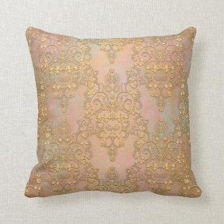 Gold Aurora Fancy Antique Lace Damask Throw Pillow