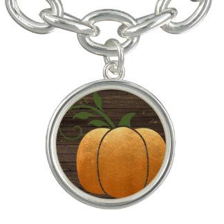 Gold Autumn Rustic Wood Pumpkin Bracelet