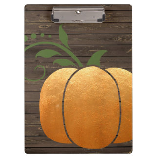 Gold Autumn Rustic Wood Pumpkin Clipboard