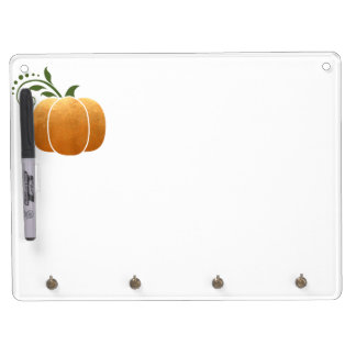 Gold Autumn Rustic Wood Pumpkin Dry Erase Board With Keychain Holder