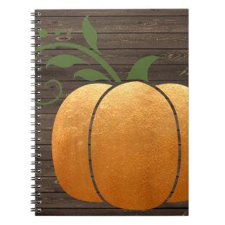 Gold Autumn Rustic Wood Pumpkin Notebook