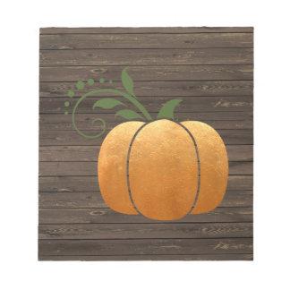 Gold Autumn Rustic Wood Pumpkin Notepad