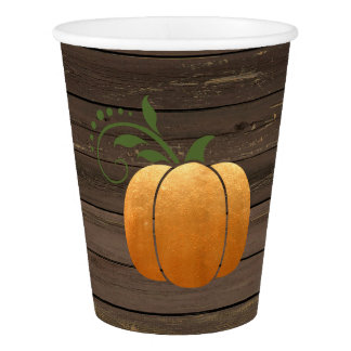 Gold Autumn Rustic Wood Pumpkin Paper Cup