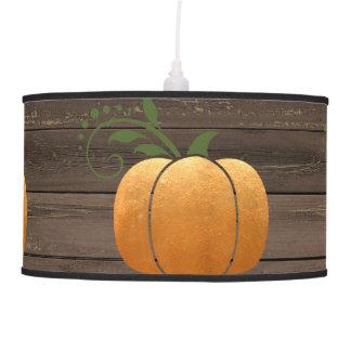 Gold Autumn Rustic Wood Pumpkin Pendant Lamp