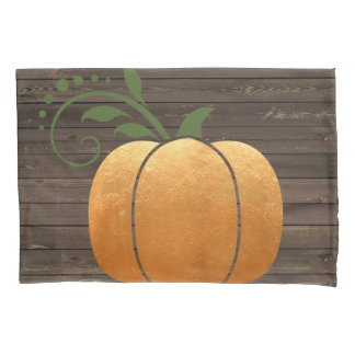 Gold Autumn Rustic Wood Pumpkin Pillowcase