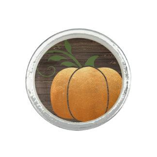 Gold Autumn Rustic Wood Pumpkin Ring