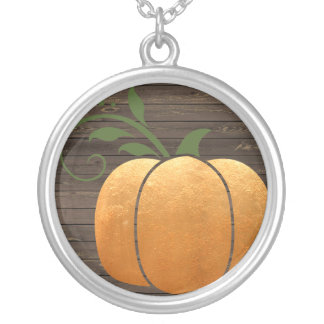 Gold Autumn Rustic Wood Pumpkin Silver Plated Necklace
