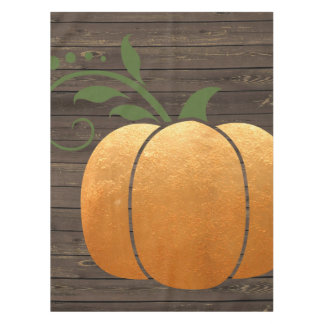 Gold Autumn Rustic Wood Pumpkin Tablecloth