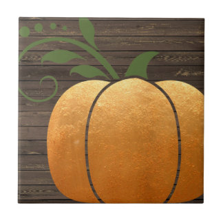 Gold Autumn Rustic Wood Pumpkin Tile