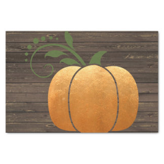 Gold Autumn Rustic Wood Pumpkin Tissue Paper
