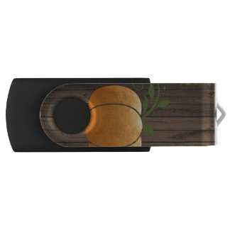 Gold Autumn Rustic Wood Pumpkin USB Flash Drive