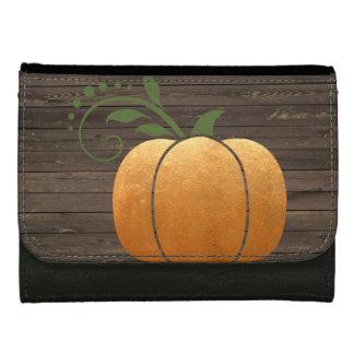 Gold Autumn Rustic Wood Pumpkin Women's Wallet