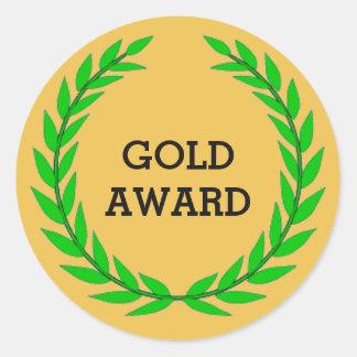 GOLD AWARD ROUND STICKER