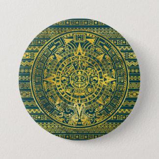 Gold  Aztec Inca Mayan Calendar 3 Inch Round Button
